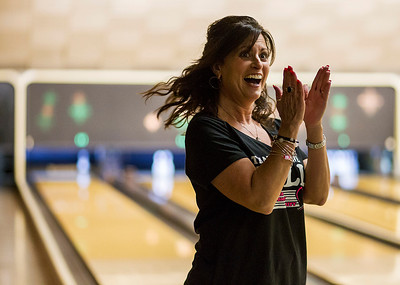Kyle Grillot - kgrillot@shawmedia.com   Liz Tevyaw of Crystal Lake reacts after bowling Thursday night at Crystal Bowl during the Ladies Night of the Bowl for Kids' Sake fundraiser. This is the Big Brothers Big Sisters of McHenry County annual fundraiser to help children who face adversity. There are six more dates to bowl and raise money during the month of March. More information can be found at www.bbbsmchenry.org/bowl.