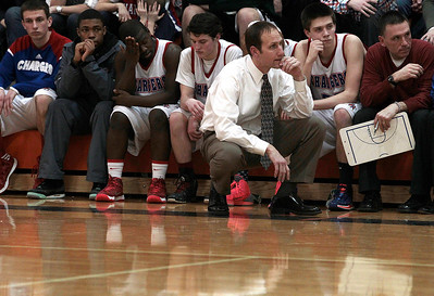 Kyle Grillot - kgrillot@shawmedia.com   The Dundee-Crown bench reacts as the game comes to a close in the fourth quarter of the Class 4A Crystal Lake Central Regional final Friday, March 7, 2014. Jacobs beat Dundee-Crown, 43-33.