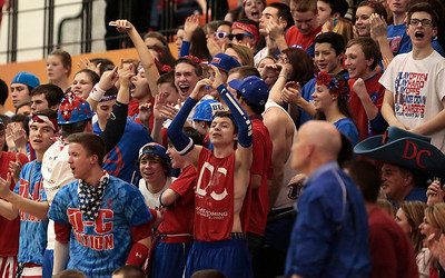 Kyle Grillot - kgrillot@shawmedia.com   Dundee-Crown fans cheer after a scored point in the second quarter of the Class 4A Crystal Lake Central Regional final Friday, March 7, 2014. Jacobs beat Dundee-Crown, 43-33.