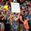St. Charles East fans show their support in the final seconds of their St. Charles North regional game loss to South Elgin Friday night.