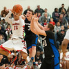 Matt Grotto - For Shaw Media<br /> <br /> Geneva's Pace Temple (center) and Loudon Vollbrecht (right) try to stop Bolingbrook's Gage Davis (far left) from driving to the basket during the third quarter at Plainfield East High School Friday, March 7, 2014, in Plainfield, Ill.