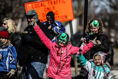 Sarah Nader- snader@shawmedia.com Korhyn Geary, 9,  of Lakemoor watches  the annual St. Patrick's Day Parade in McHenry hosted by the Rotary Club of McHenry Sunday, March 16, 2014. The parade was held to create awareness of and show support for the volunteer-run organizations that exist in the McHenry area.