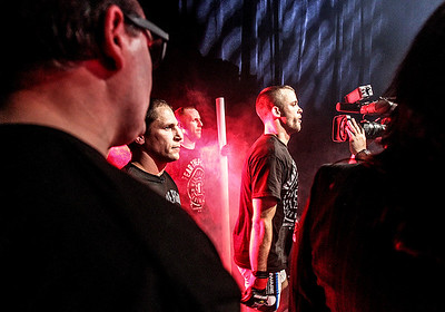 Sarah Nader- snader@shawmedia.com Pat Curran, who trains in Crystal Lake, waits for his name to be announced during the Bellator MMA 112 featherweight world title bout Friday, March 14, 2014 at Horseshoe Casino in Hammond, Ind. Curran won the fight.