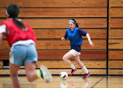 Sarah Nader- snader@shawmedia.com Johnsburg's Delaney Pruitt dribbles the ball during soccer practice Thursday, March 20, 2014 at Johnsburg High School. Johnsburg went to state last year and is expecting another good season with a strong freshman class.
