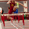 Taylor Stieve of Batavia High School competes in the finals for the 55 meter hurdle race at Batavia High School at Batavia High School during the girls indoor track and field championships March 22.