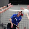 Jeff Krage – For Shaw Media<br /> St. Francis' Jeff Jendryk Jr. gets a kill during Wednesday's match against visiting Bartlett.<br /> Wheaton 3/26/14