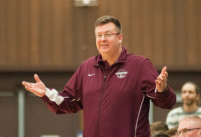 Prairie Ridge head coach Cork Card reacts to a technical foul called on him during the second quarter of the Class 4A Rock Valley Sectional playoff game in Rockford Wednesday, Mar. 9, 2016. Randy Stukenberg for Shaw Media