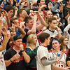 The St. Charles student section react to a technical foul called on the Prairie Ridge coach during the third quarter of the Class 4A Rock Valley Sectional playoff game in Rockford Wednesday, Mar. 9, 2016. St. Charles beat Prairie Ridge 68-44. Randy Stukenberg for Shaw Media