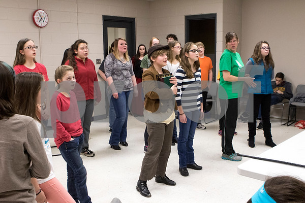 Sam Buckner for Shaw Media.<br /> The Children's Community Theatre rehearses their presentation of Oliver on Tuesday March 1, 2016.