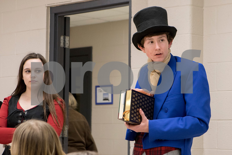 """Sam Buckner for Shaw Media.<br /> Grant Goral rehearses his role as Dodger in """"Oliver"""" presented by the Children's Community Theatre on Tuesday March 1, 2016."""