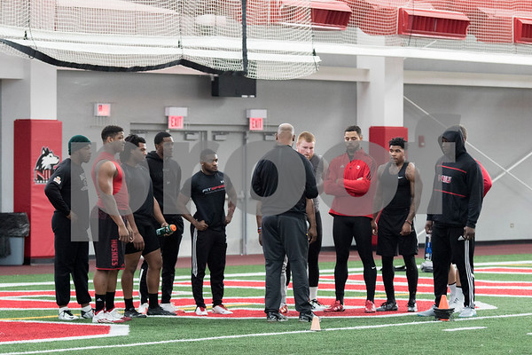 Sam Buckner for Shaw Media.<br /> Participants of NIU's Pro Day get ready before running the 40 yard dash in front of NFL scouts on Friday March 11, 2016.