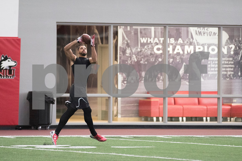 Sam Buckner for Shaw Media.<br /> Juwan Brescacin catches a pass at NIU's Pro Day on Friday March 11, 2016.