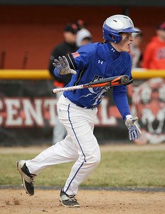 Burlington Central's Johnathan Murphy (6) drives in 2 runs during the sixth inning of their baseball game against Crystal Lake Central on Saturday, March 19, 2016 in Crystal Lake. The Rockets beat the Tigers 6-3.  John Konstantaras photo for the Northwest Herald