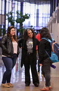 Leslie Garcia, 19, (left)  from Woodstock, Candice Johnson, (center) coordinator of multicultural affairs, and Jazmine Rangel, 20 from Crystal Lake, talk at McHenry County College, Thursday, March 24, 2016. MCC's hispanic population has grown 30 percent in the last few years. John Konstantaras - For Shaw Media