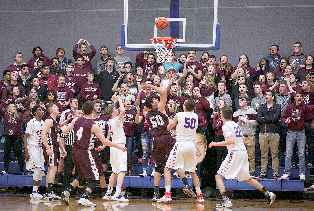 Alejandro Rodriguez (50) from Marengo scores a basket on a rebound in the final minute of the fourth quarter of their Class 3A sectional game against Glenbard South at Genoa-Kingston High School Wednesday, March 8, 2017 in Genoa. The Indians defeated the Raiders 50-49. John Konstantaras photo for the Northwest Herald
