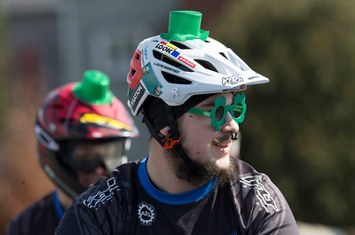 All dressed up and ready to go, Holt Kepes, 20 from Ringwood, waits for the start of the St. Patrick's Day parade at McHenry East on Sunday, March 12, 2017 in McHenry. Kepes was riding his bike with The Bike Haven during the parade. John Konstantaras photo for the Northwest Herald