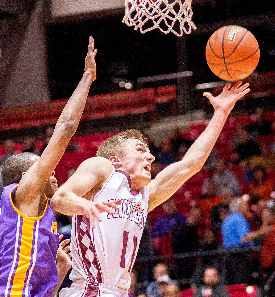 Marengo's Michael Volkening lays up two points during the third quarter of the Class 3A Super-Sectional championship game Tuesday, March 14, 2017. Volkening led the Indians with 20 points  in their 69-46 loss to Bloomington. Randy Stukenberg for Shaw Media