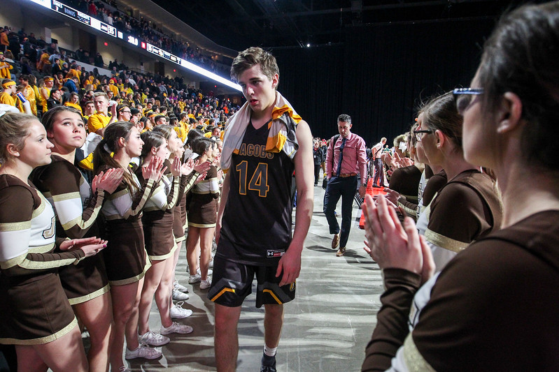 Sarah Nader - snader@shawmedia.com Jacobs; Ryan Phillips walks off the court after losing Tuesday's Class 4A Sears Centre Arena Supersectional against Fremd March 14, 2017 in Hoffman Estates. Jacobs lost in overtime, 35-36.