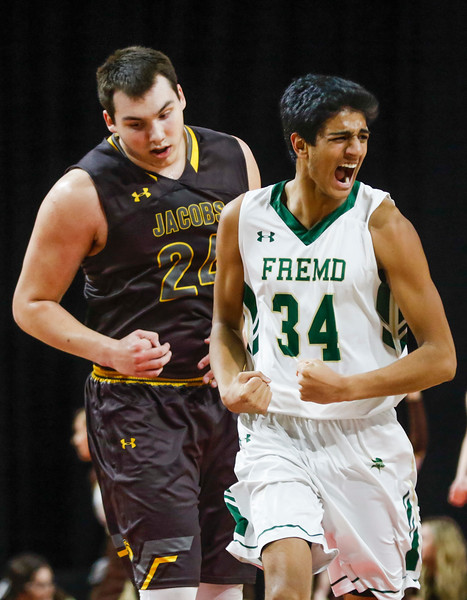 Sarah Nader - snader@shawmedia.com Fremd's Shaan Patel celebrates a basket during the first quarter of Tuesday's Class 4A Sears Centre Arena Supersectional  March 14, 2017 in Hoffman Estates. Jacobs lost in overtime, 35-36.