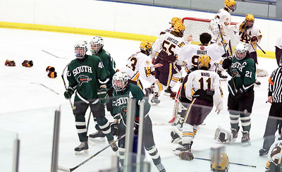 Crystal Lake South players skate away from celebrating Loyola Academy after Friday's Blackhawk Cup White State Tournament championship 6-1 loss at the Edge Ice Arena in Bensenville.