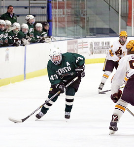 Crystal Lake South's Eric Helm skates into the zone during Friday's Blackhawk Cup White State Tournament championship against Loyola Academy at the Edge Ice Arena in Bensenville. The Gators lost 6-1.