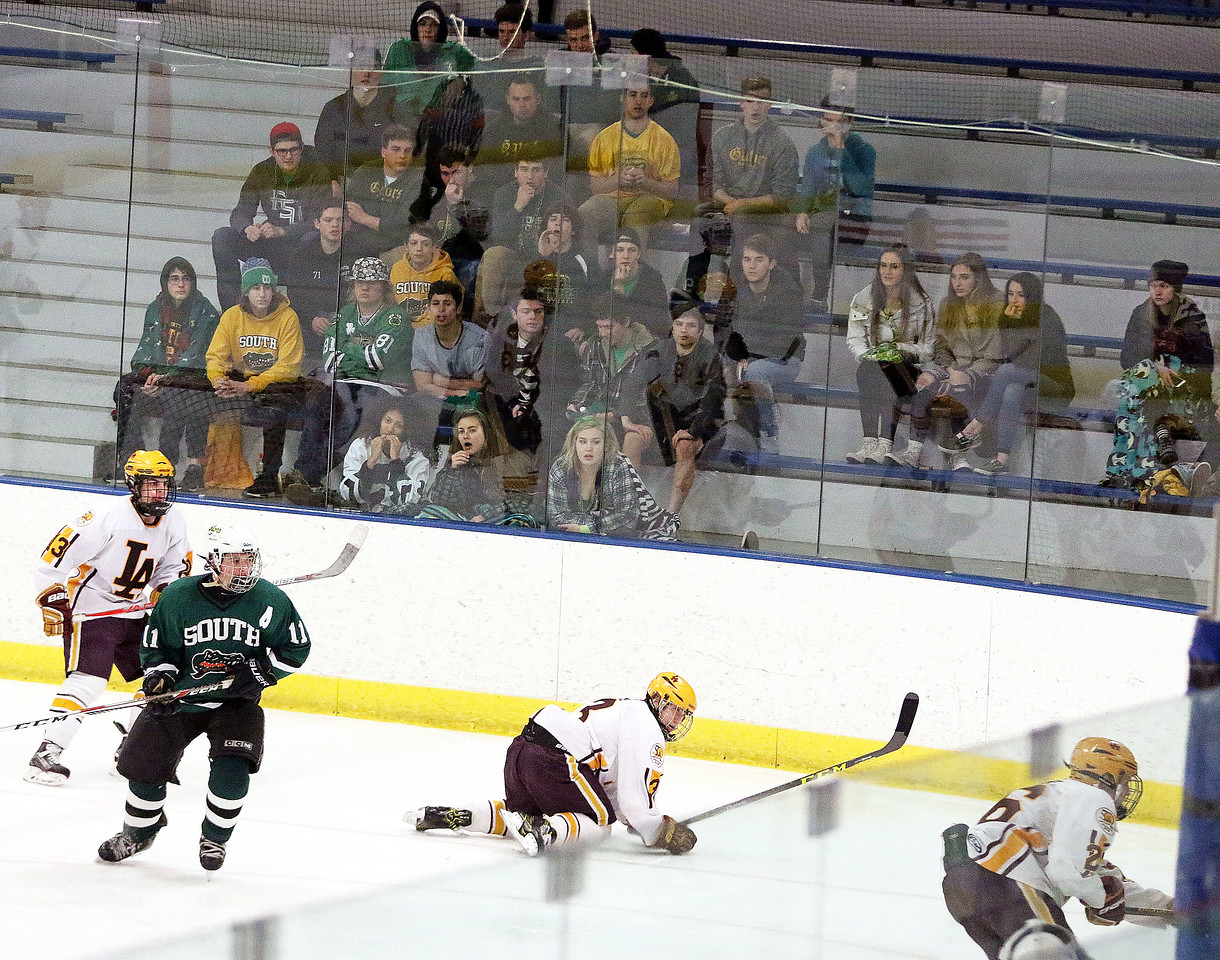 Crystal Lake South fans watch their Gators during Friday's Blackhawk Cup White State Tournament championship against Loyola Academy at the Edge Ice Arena in Bensenville. The Gators lost 6-1.