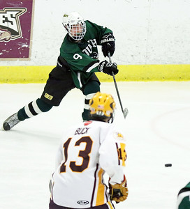 Crystal Lake South's Michael Helm passes the puck during Friday's Blackhawk Cup White State Tournament championship against Loyola Academy at the Edge Ice Arena in Bensenville. The Gators lost 6-1.