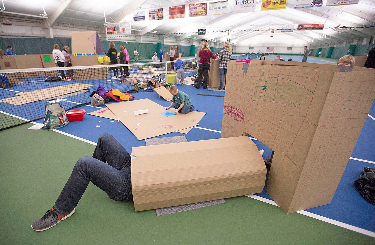 Jim Kassner, from Lakewood, works on his teams fort during the First Annual Forts on the Courts Epic Fort Building Battle at The Racket Club on Saturday, March 18, 2017 in Algonquin. John Konstantaras photo for the Northwest Herald