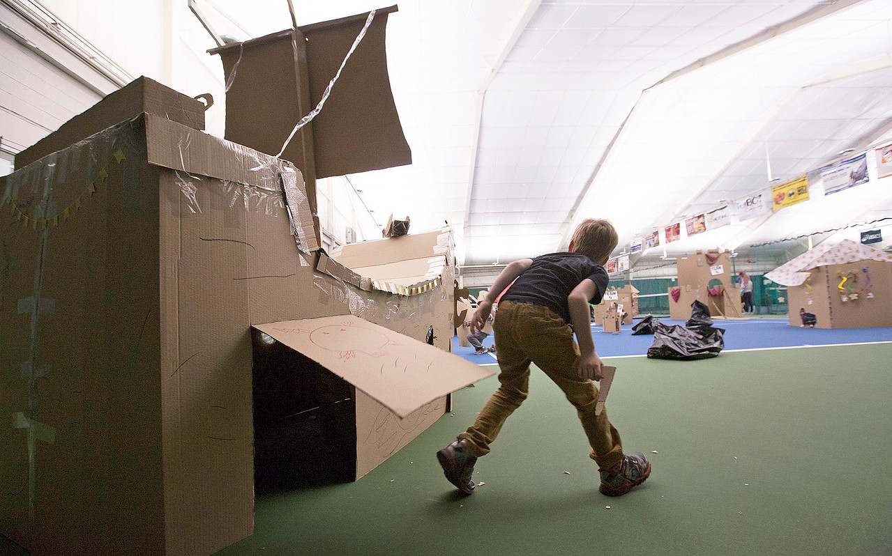 Jack Kassner, 7 from Lakewood, plays in one of the forts during the First Annual Forts on the Courts Epic Fort Building Battle at The Racket Club on Saturday, March 18, 2017 in Algonquin. John Konstantaras photo for the Northwest Herald