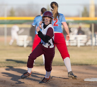 John Konstantaras photo for the Northwest Herald Jillian Minutillo (9) of Prairie Ridge rounds the bases during their game against Marian Central at Prairie Ridge High School  on Tuesday, March 21, 2017 Crystal Lake.
