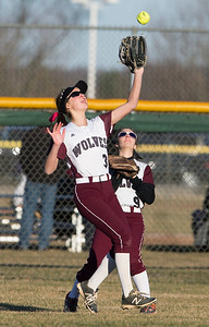 John Konstantaras - For the Northwest Herald Emelia Farnam (3) of Prairie Ridge catches a fly ball to get out of the 6th inning with the bases loaded of their game against Marian Central at Prairie Ridge High School  on Tuesday, March 21, 2017 Crystal Lake.