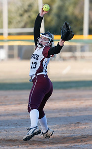 John Konstantaras photo for the Northwest Herald Haley Barnes (23) of Prairie Ridge delivers a pitch during the seventh inning of their game against Marian Central at Prairie Ridge High School  on Tuesday, March 21, 2017 Crystal Lake.