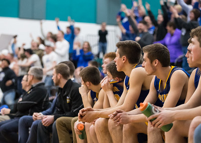Whitney Rupp for Shaw Media Burlington Central fans cheer behind the Johnsburg Skyhawks bench in the final minutes of the Class 3A sectional semifinal game Tuesday, March 6.