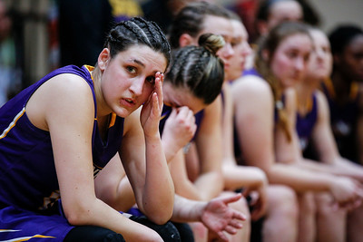 Grace Gajewski (11) from MCC on the bench after their loss to Bryant & Stratton College during their NJCAA Region IV game at Waubonsee Community College on Saturday, March 10, 2018 in Sugar Grove , Illinois. The Scotts lost to the Bobcats in overtime 81-70. John Konstantaras photo for Shaw Media