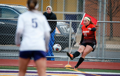 Madison Rokos (11) from Crystal Lake Central scores a goal on a corner kick during the second half of their game against Wauconda on Monday, March 12, 2018 in Wauconda, Illinois. The Bulldogs defeated the Tigers 4-2. John Konstantaras photo for Shaw Media