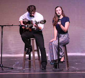 "Candace H. Johnson-For Shaw Media Charlie Granat, 17, and Cassie Clark, 16, both of Fox Lake perform the song, ""Perfect,"" during the Variety Show at Grant Community High School in Fox Lake.(3/10/18)"