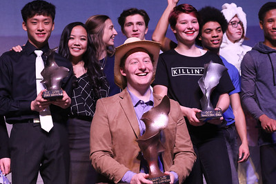Candace H. Johnson-For Shaw Media Champion Jack Myers, 17, of Fox Lake, (center) third place winners Johann Tan, 16, of Lake Villa and Rane Victoria, 17, of Round Lake and second place winner, Lindsay Dobson, 16, of Fox Lake stand with all of the finalists after performing in the Variety Show at Grant Community High School in Fox Lake.(3/10/18)