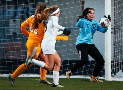 Goalie Emily Pasetes (0) from Jacobs makes a save during the first half of their game against Bartlett at Millennium Field on Friday, March 16, 2018 in Streamwood, Illinois. John Konstantaras photo for Shaw Media