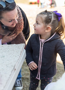Whitney Rupp for Shaw Media Leah Liepitz, 3, Trevor, Wis., looks to her mom, Kate Liepitz, before visiting with a bunny at the annual Easter Egg Hunt held at at Living Waters Lutheran Church in Crystal Lake Sunday, March 18.