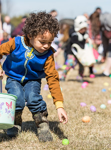 Whitney Rupp for Shaw Media Zahkai Westra, 3, Lake in the Hills, picks up an egg at Living Waters Lutheran Church during the church's annual Easter Egg Hunt Sunday, March 18.