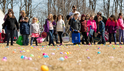 Whitney Rupp for Shaw Media A group of children lines up at the beginning of Sunday's Easter Egg Hunt at Living Waters Lutheran Church in Crystal Lake.