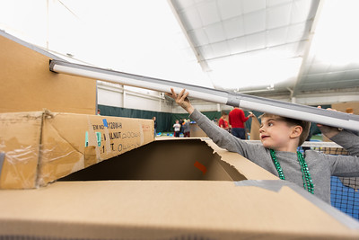 Whitney Rupp for Shaw Media John Niziolek, 8, Crystal Lake, constructs a cardboard tank at Crystal Lake Park District's 'Forts on the Courts', Saturday March 17.