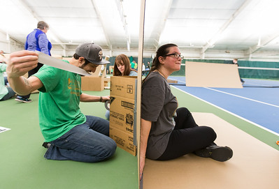 Whitney Rupp for Shaw Media Matthew Seeley, left, constructs a fort with Danielle Zarbock, center, and Lizzie Disantis at The Racket Club in Algonquin Saturday, March 17. The Crystal Lake Park District hosted the event, open to ages 4 and up.