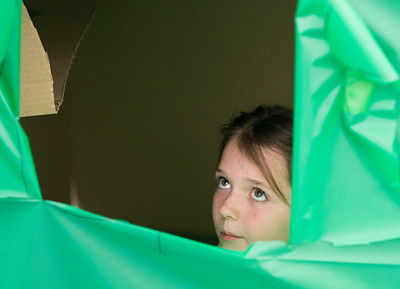 Whitney Rupp for Shaw Media Meghan Gau, 8, Crystal Lake, peers through a window while discussing the construction of her family's cardboard fort Saturday, March 17.