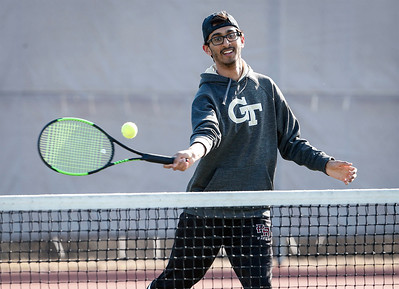 Prairie Ridge's Devarsi Rawal during tennis practice on Wednesday, March 21, 2018 in Crystal Lake, Illinois. John Konstantaras photo for Shaw Media