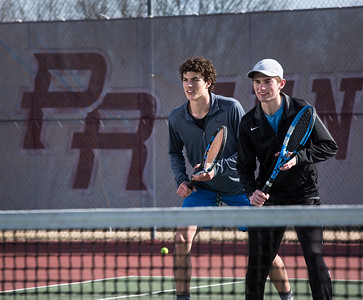 Prairie Ridge doubles first team Daniel Lamar, left, and Patrick Nasta are ready the tennis season seen during practice on Wednesday, March 21, 2018 in Crystal Lake, Illinois. John Konstantaras photo for Shaw Media