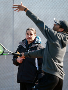 Prairie Ridge tennis coach Jim Benson during practice on Wednesday, March 21, 2018 in Crystal Lake, Illinois. John Konstantaras photo for Shaw Media