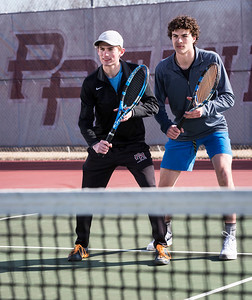 Prairie Ridge doubles first team Patrick Nasta, left, and Daniel Lamar are ready the tennis season seen during practice on Wednesday, March 21, 2018 in Crystal Lake, Illinois. John Konstantaras photo for Shaw Media