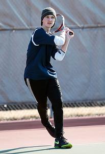 Prairie Ridge Ben Lingner during tennis practice on Wednesday, March 21, 2018 in Crystal Lake, Illinois. John Konstantaras photo for Shaw Media