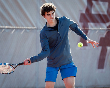 Prairie Ridge's Daniel Lamar during tennis practice on Wednesday, March 21, 2018 in Crystal Lake, Illinois. John Konstantaras photo for Shaw Media